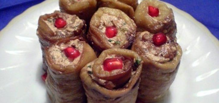 Рулетики баклажановые с орехами