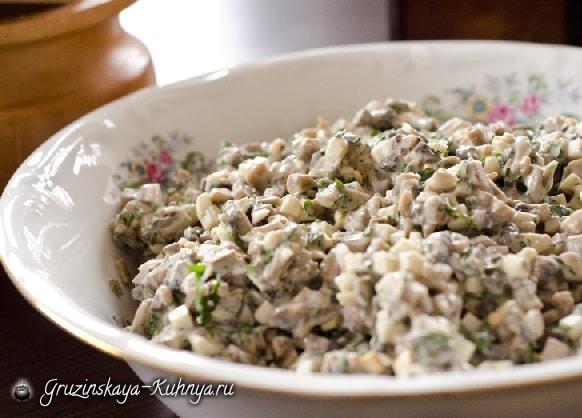 Грибной салат. Кулинарный рецепт