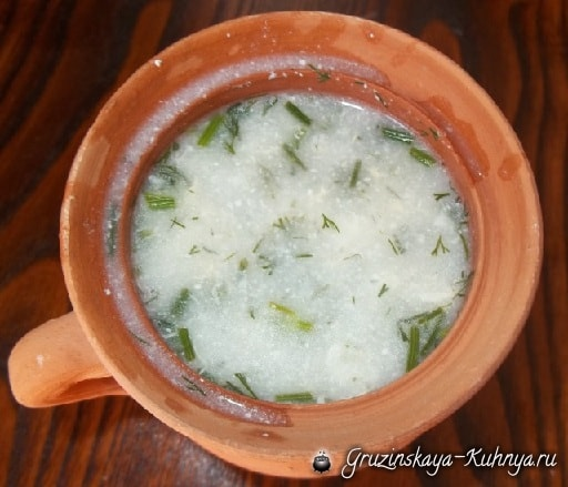 Грузинский суп с мацони. Рецепт (7)