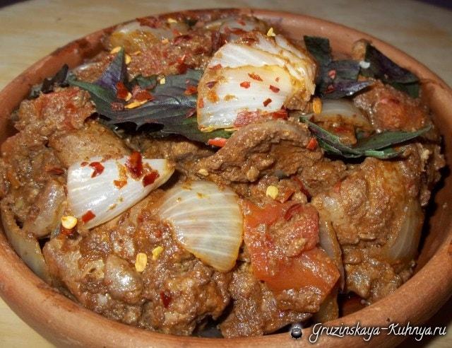 Куриная печень с красным вином и сванской солью (2)