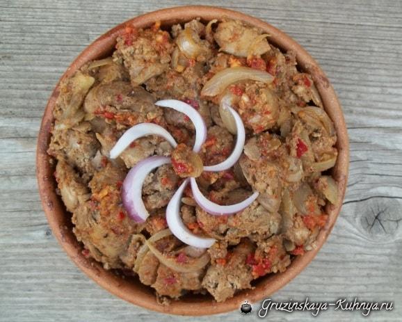 Куриная печень с аджикой по-грузински (4)