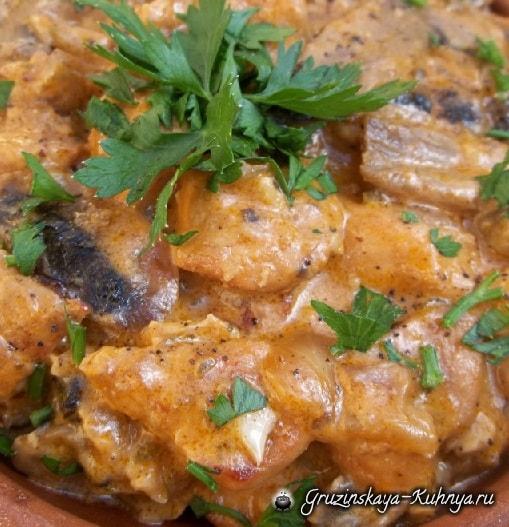 Куриное филе с грибами и зеленой аджикой (5)