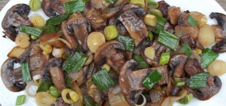 Грибы с зеленым чесноком по-грузински