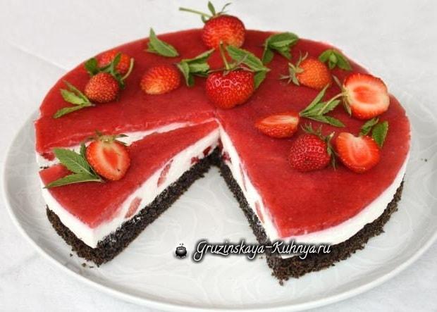 Клубничный торт с маком и творогом (11)