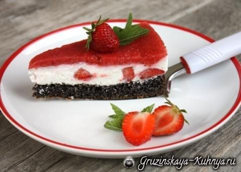 Клубничный торт с маком и творогом (12)