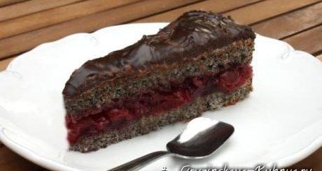 Маковый торт с вишней. Рецепт с фото