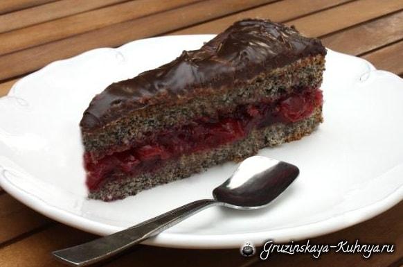 Маковый торт с вишней. Рецепт с фото (9)