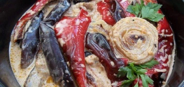 Запеченные овощи в майонезном соусе по-грузински