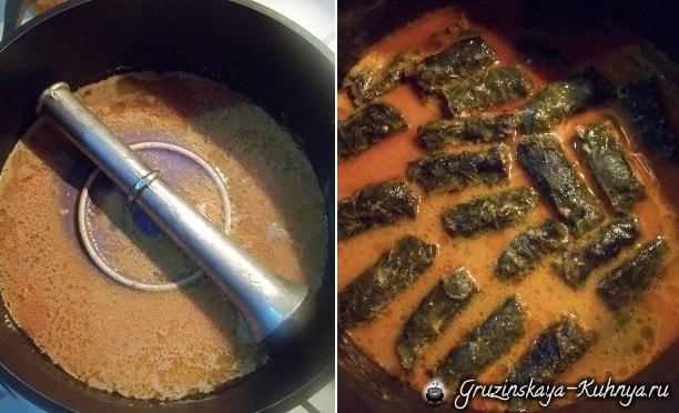 Долма с морковью и пряным томатным соусом (15)