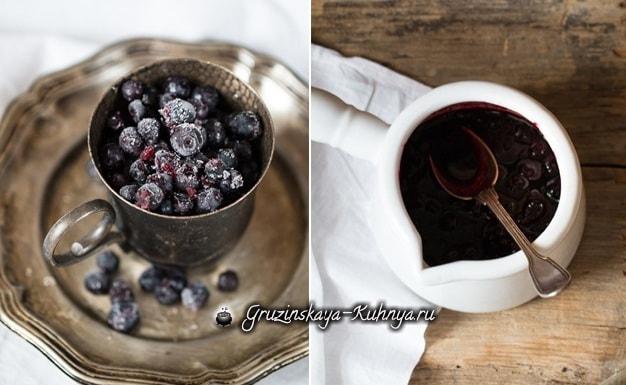 Пушистые оладьи с черничным соусом (2)