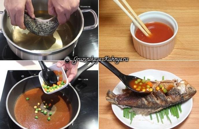Жареный карп с кукурузой, горошком и пряным соусом (2)