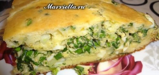 Пирог с зеленым луком, тархуном и яйцами