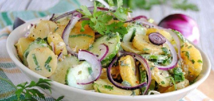 Салат из молодого картофеля с огурцами (2)