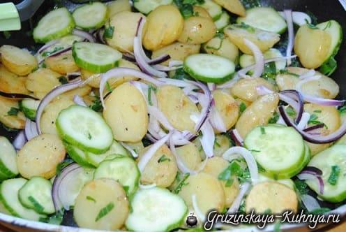 Салат из молодого картофеля с огурцами (6)