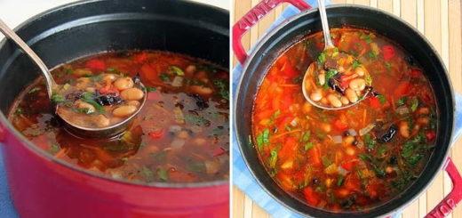 Суп из фасоли с черносливом