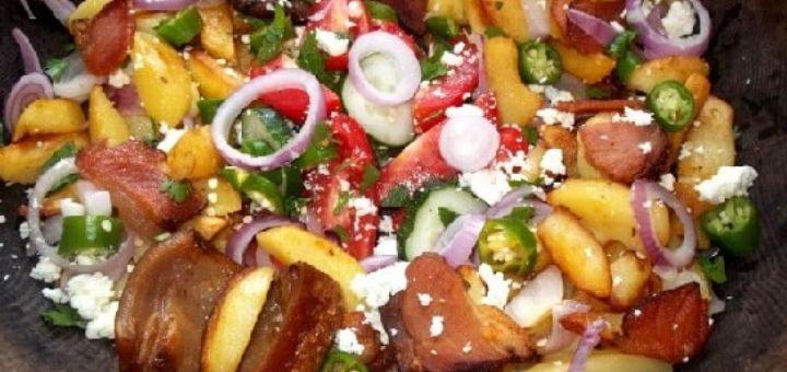 Оджахури из копченого бекона с салатом (6)