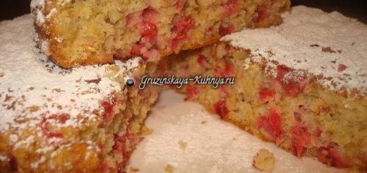 Овсяный пирог с красной смородиной