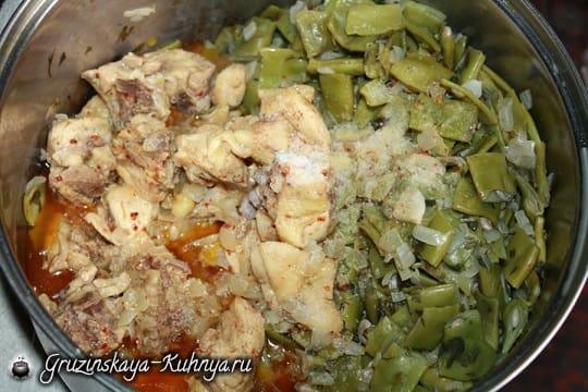 Зеленое лобио с курицей. Грузинский рецепт (4)