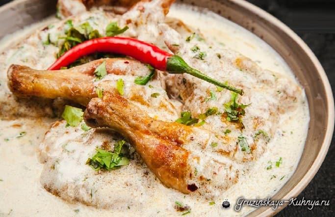 Шкмерули - блюдо из курицы в сливочно-чесночном соусе (2)
