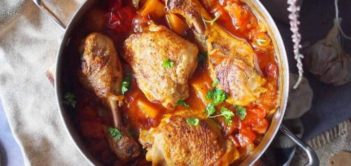 Курица, запеченная с тыквой и болгарским перцем (1)