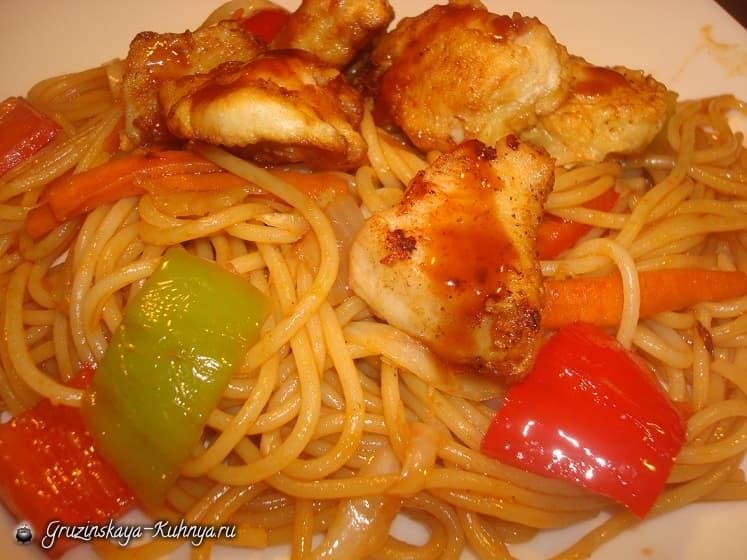 Куриное филе с овощами в кисло-сладком соусе (1)