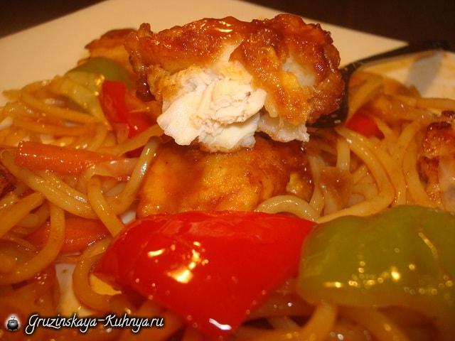 Куриное филе с овощами в кисло-сладком соусе (3)