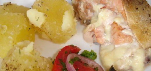 Лосось, фаршированный грибами и сыром (2)