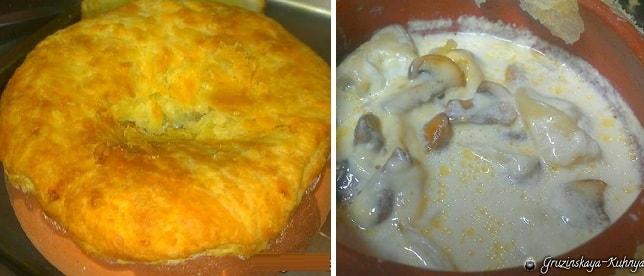 Пельмени с грибами и сыром в горшочке
