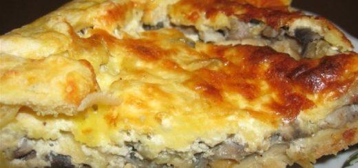 Пирог с грибами и беконом